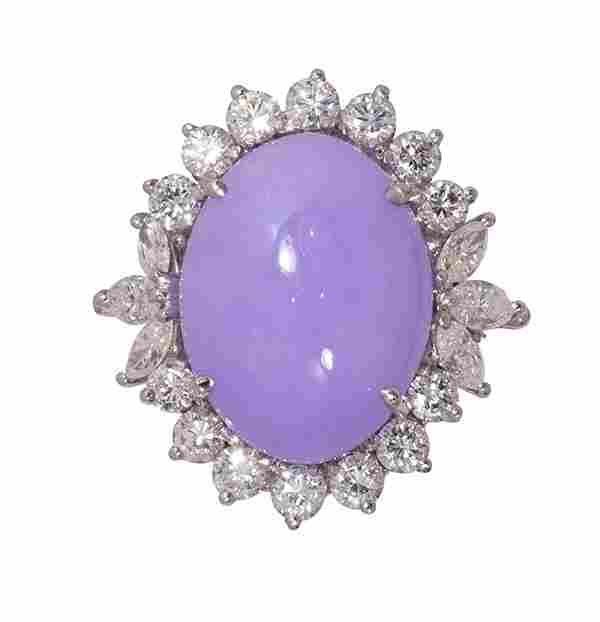 Lavender jadeite, diamond and 14k white ring, GIA