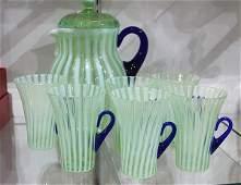 (lot of 7) Fenton optic ribbed glass lemonade set #222