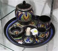 (lot of 6) Gouda art pottery smoking set