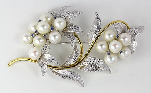 Cultured pearl, sapphire and gold brooch
