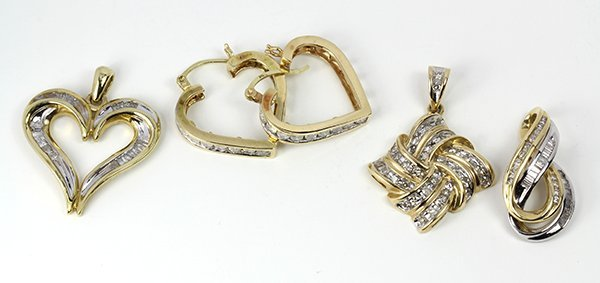 (Lot of 4) Diamond and yellow gold jewelry items