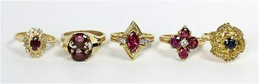 Lot of 5 Multistone diamond and yellow gold rings