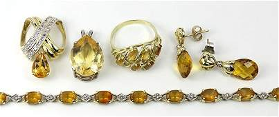 Collection of citrine diamond and yellow gold jewelry