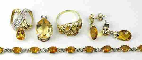 Collection of citrine, diamond and yellow gold jewelry