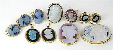 Collection of multistone cameo diamond and yellow