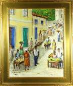 Painting, Village Street Scene with Figures, 1963