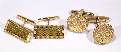 Lot of 2 Pairs of 18k yellow gold cufflinks