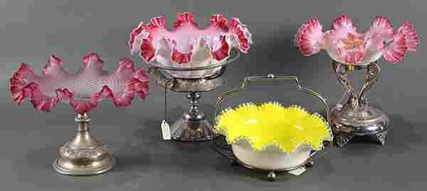 (lot of 4) Victorian art glass bride's baskets, each