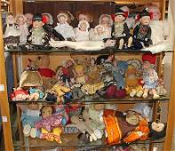 (lot of 40 plus) Three shelves of dolls