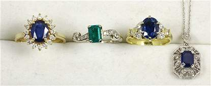 Collection of sapphire diamond synthetic emerald and