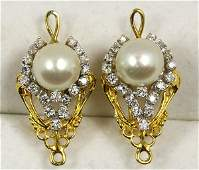 Pair of cultured pearl, diamond, 14k yellow and white