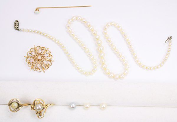 Collection of opal, cultured pearl, diamond, yellow