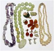 Collection of multistone gold and metal jewelry