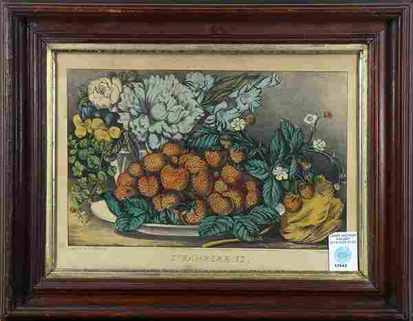Prints, Currier & Ives, Sylvan Lake and Strawberries