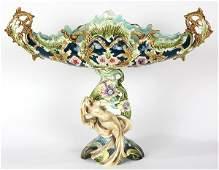 Continental Art Nouveau majolica figural centerpiece