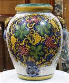 Italian Majolica decorated ceramic vase