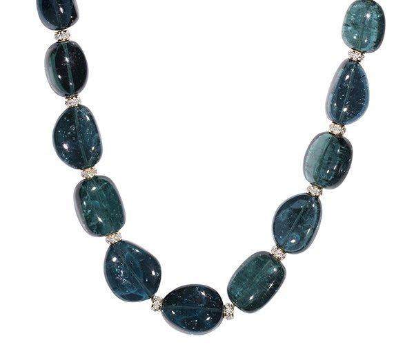 Tourmaline, diamond, and 18k yellow gold bead necklace