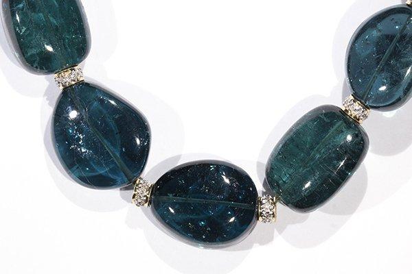 Tourmaline, diamond, and 18k yellow gold bead necklace - 2