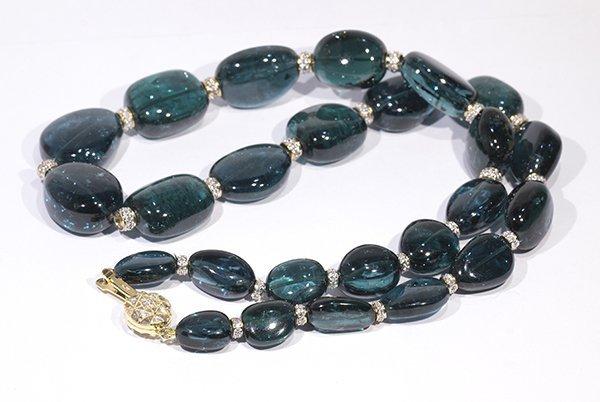 Tourmaline, diamond, and 18k yellow gold bead necklace - 3