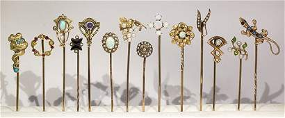 (Lot of 14) Multi-stone, gold and metal stickpins