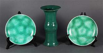 Chinese Porcelain Dishes and Gu Vase
