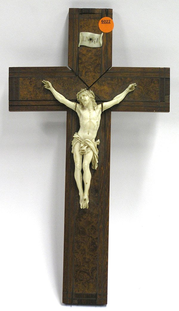 6022: French crucifix with ivory carving
