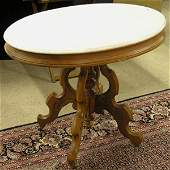 6493 Victorian walnut marble top table