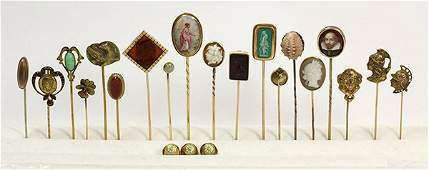 Collection of gem gold and metal stickpins