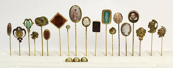 Collection of gem, gold and metal stickpins