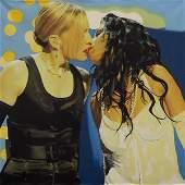 Embellished Print, Steve Kaufman, Madonna and Chrisina