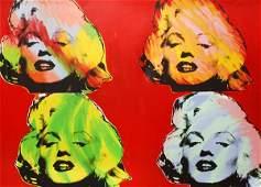 Hand-Embellished Print, Steve Kaufman, Marilyn Quad
