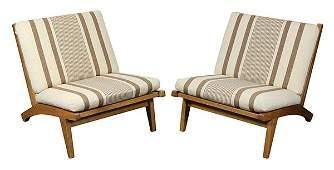 Lot of 2 Hans Wegner for Getama oak lounge chairs