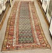 "Antique Persian Malayer runner, 12'3"" x 3'4"""