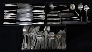 American sterling silver flatware service for twelve