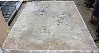 Chinese Rug, Celadon tones, silk-wool blend, 8' x 11'