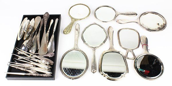 American silver mounted hand mirrors, button hooks,
