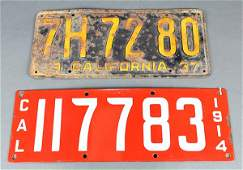 lot of 2 California license plates