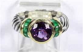 David Yurman amethyst emerald 14k yellow gold and