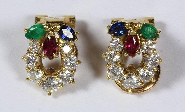 Pair of ruby, sapphire, emerald, diamond and 18k yellow