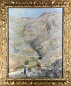 Painting Figures Travelling Through a Mountain Pass
