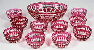 Lot of 10 Victorian cranberry glass cut to clear