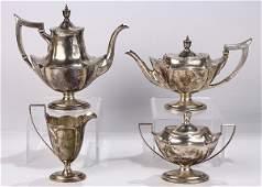 Antique Gorham sterling silver hot beverage suite in
