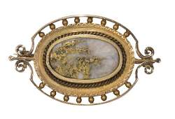 Victorian gold-in-quartz and 14k yellow gold brooch
