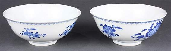 Chinese Blue and White Bowls, Flowers