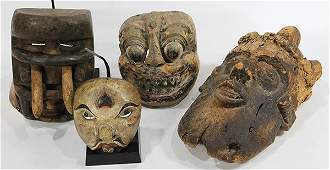 lot of 4 West African decorative carved wood masks