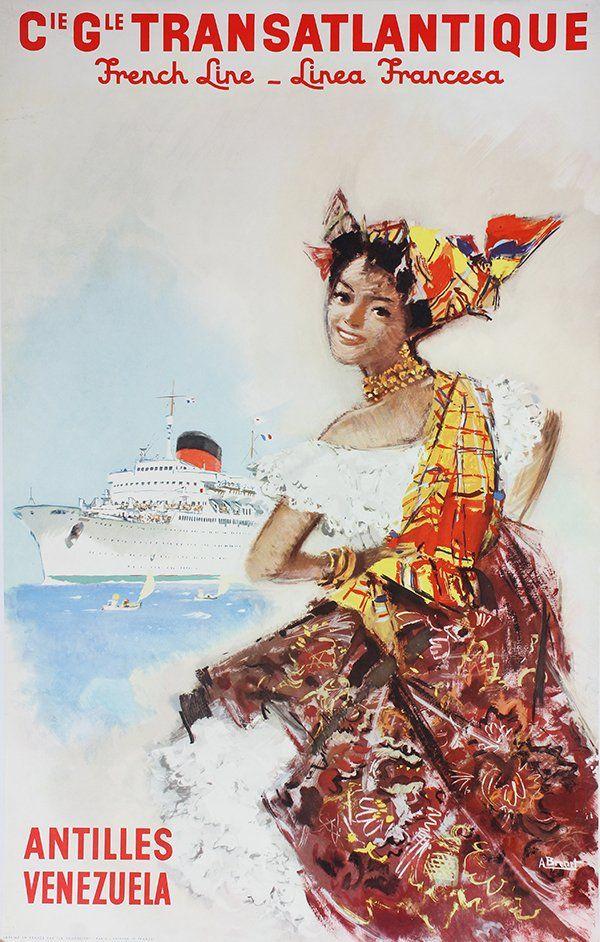 Vintage Travel Poster, Albert Brenet, Antilles