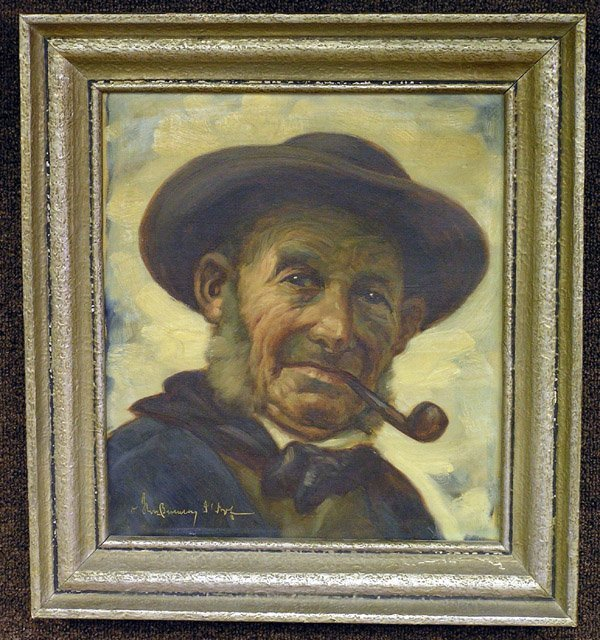 2: Oil/canvas, Portrait of a Man, signed