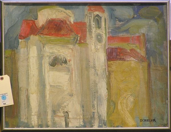 4: Painting of a church signed Schuler