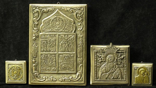 10: Russian Icons, Silver Gilt Repousse