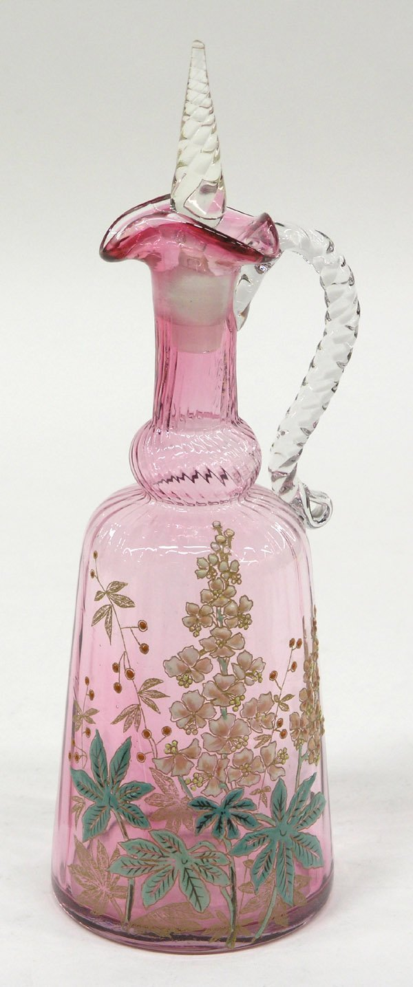 13: Bohemian cranberry decanter with stopper